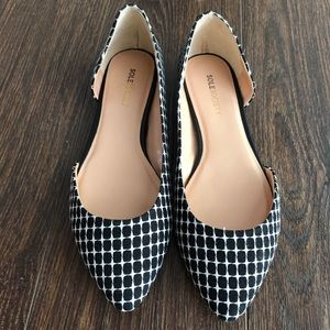 Sole Society Black And White Patterned Flats
